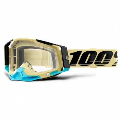 100% Crossbrille Racecraft 2, beige-blau, silber-verspiegelt