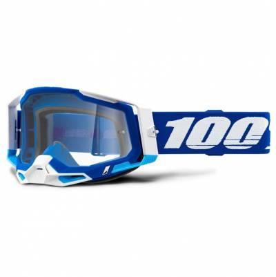 100% Crossbrille Racecraft 2, blau-weiß, blau-verspiegelt