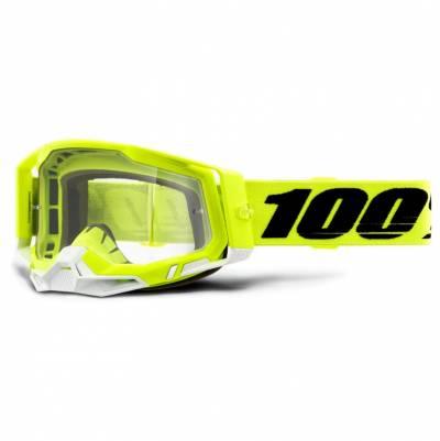 100% Crossbrille Racecraft 2, fluogelb-weiß, rot-verspiegelt