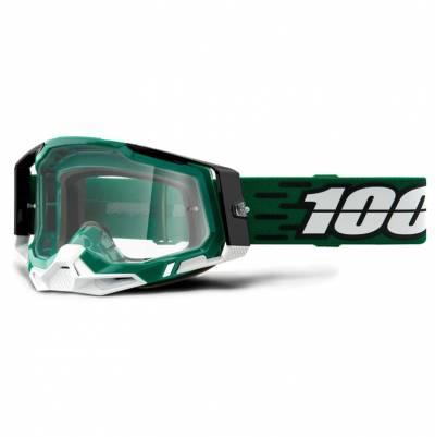 100% Crossbrille Racecraft 2, grün-weiß, silber-verspiegelt