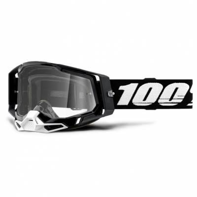 100% Crossbrille Racecraft 2, schwarz-weiß, silber-verspiegelt