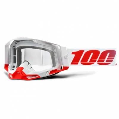 100% Crossbrille Racecraft 2, weiß-rot, rot-verspiegelt