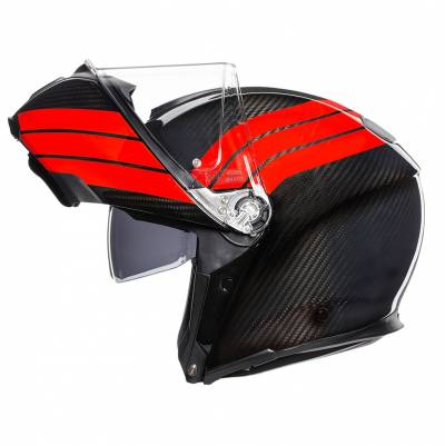 AGV Helm Sportmodular Stripes, carbon-rot