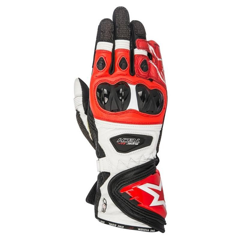 Alpinestars Handschuhe Supertech, schwarz-weiß-rot