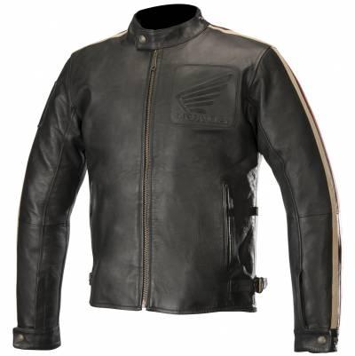 Alpinestars Lederjacke Charlie Honda, Tech-Air-e™, schwarz-beige-rot