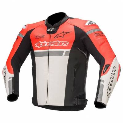 Alpinestars Lederjacke Missile Ignition (Tech-Air-e® kompatibel), fluorot-weiß-schwarz