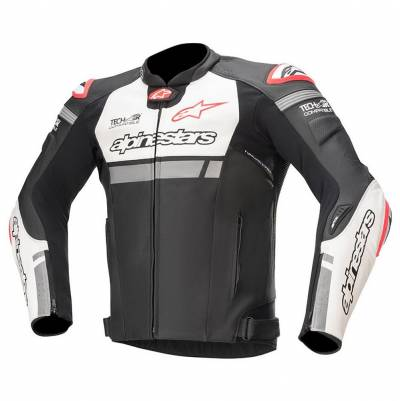 Alpinestars Lederjacke Missile Ignition (Tech-Air-e® kompatibel), schwarz-weiß-fluorot