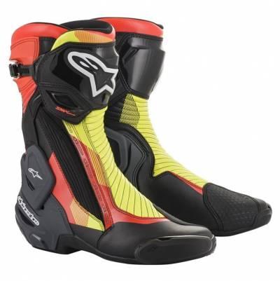Alpinestars Stiefel SMX-Plus v2, schwarz-rot-fluogelb-grau