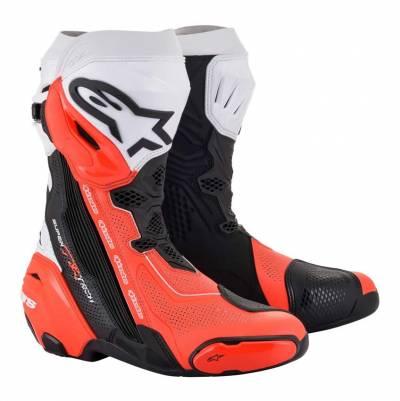 Alpinestars Stiefel Supertech R 2021 Vented schwarz-weiß-fluorot