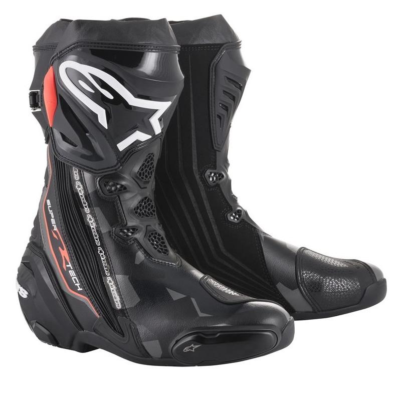 Alpinestars Stiefel Supertech-R, schwarz-dunkelgrau-fluorot