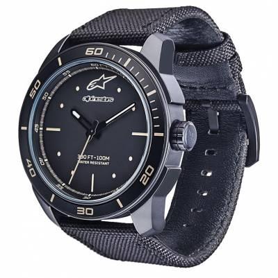 Alpinestars Uhr Tech Watch 3H, Alpinestars, schwarz-schwarz matt, Leder- und Nylon Band