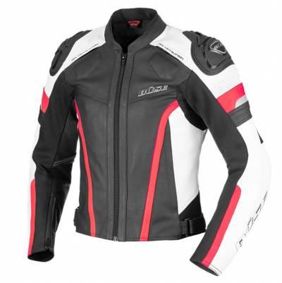 Büse Damen Lederjacke Monza, schwarz-weiß-rot