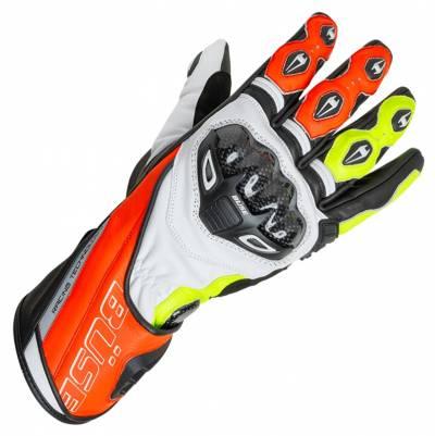 Büse Handschuhe Donington Pro, weiß-fluorot-fluogelb