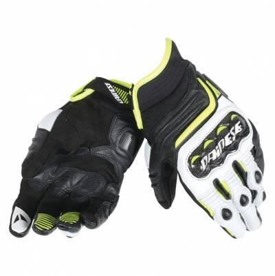 Dainese Handschuhe Carbon D1 short, schwarz-weiß-fluogelb