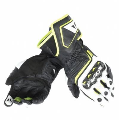 Dainese Handschuhe Carbon long D1, schwarz-weiß-gelbfluo