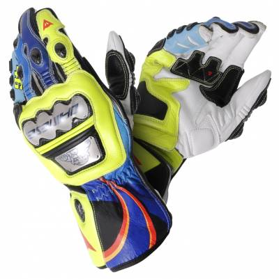Dainese Handschuhe Full Metal 6 VR46 Replica, gelb-blau-weiß-schwarz