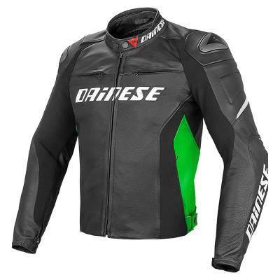Dainese Jacke Racing  D1 Pelle, schwarz-neongrün