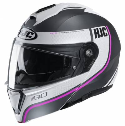 HJC Helm i90 Davan MC8SF, schwarz-weiß-pink matt