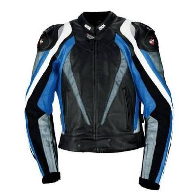 iXS B-Ware Lederjacke Corbin, schwarz-blau-weiß