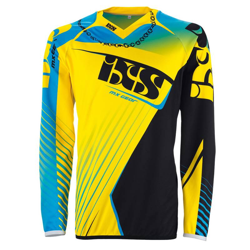 iXS Cross Shirt Atmore, blau-gelb-schwarz