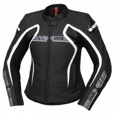 iXS Damen Lederjacke RS-600 1.0, schwarz-grau-weiß