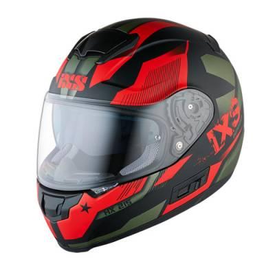 iXS Helm HX 215 Defender, schwarz-rot-matt