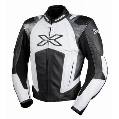 iXS Lederjacke Donington, schwarz-weiß-grau (B-Ware)