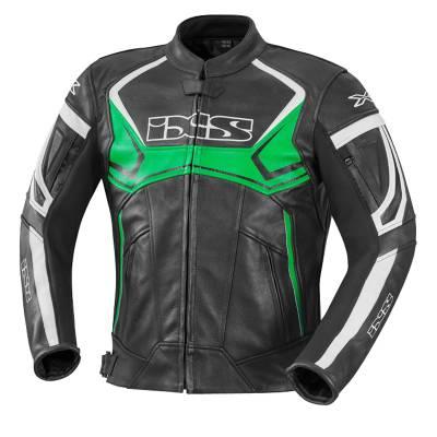 iXS Lederjacke Hype, schwarz-grün-weiß