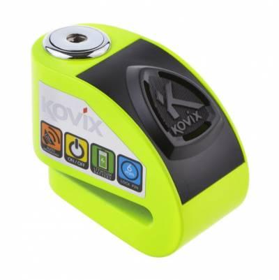 Kovix Bremsscheibenschloss KD6 mit Alarm, fluogrün, Schutzklasse 6