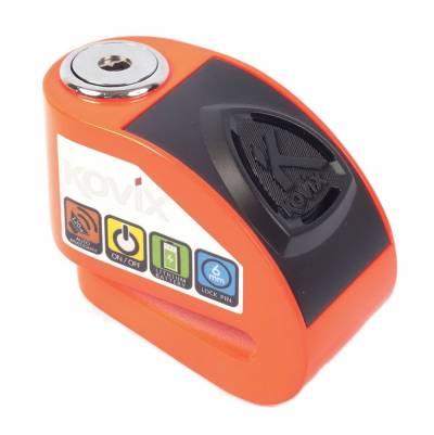 Kovix Bremsscheibenschloss KD6 mit Alarm, fluoorange, Schutzklasse 6