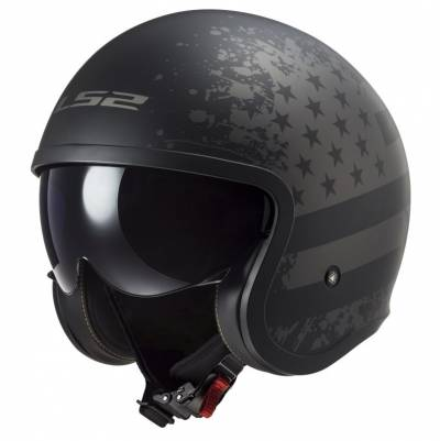 LS2 Helmets Jethelm Spitfire Black Flag OF599, schwarz-titan matt