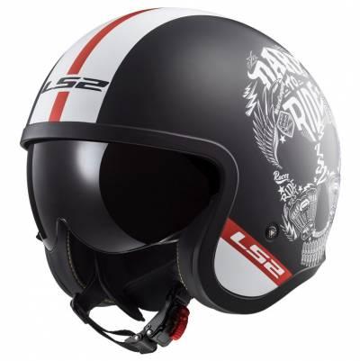 LS2 Helmets Jethelm Spitfire Inky OF599, schwarz-weiß matt