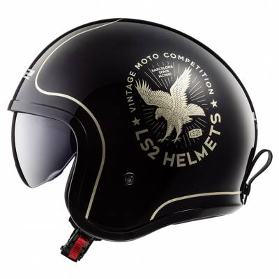 LS2 Helmets Jethelm Spitfire OF599 Flier, schwarz-gold