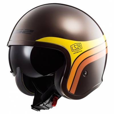 LS2 Helmets Jethelm Spitfire OF599 Sunrise, braun-orange-gelb