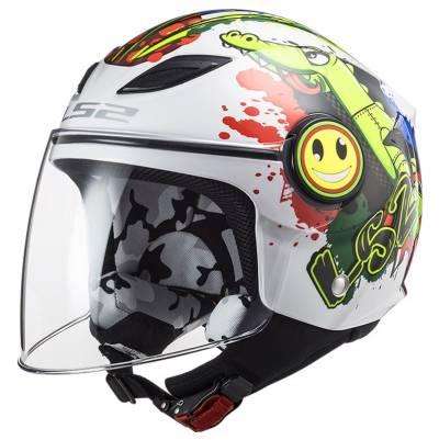 LS2 Helmets Kinder Jethelm Funny Croco OF602, weiß