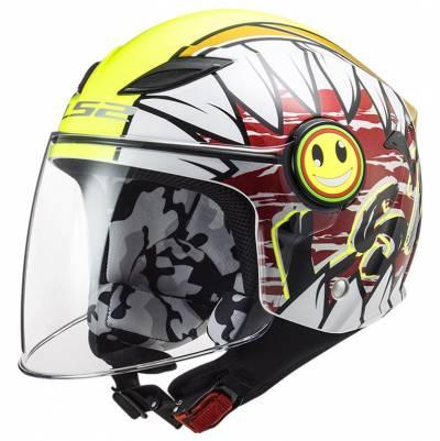 LS2 Helmets Kinder Jethelm Funny Crunch OF602, weiß-fluogelb