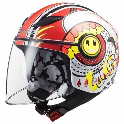 LS2 Helmets Kinder Jethelm Funny Sluch OF602, rot-weiß
