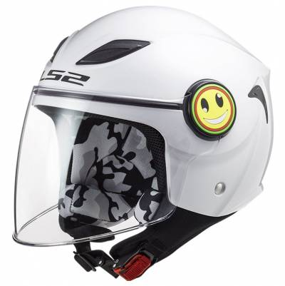 LS2 Helmets Kinder Jethelm Funny Solid OF602, weiß