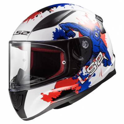 LS2 Helmets Kinderhelm Rapid Mini FF353J Monster, weiß-blau-rot