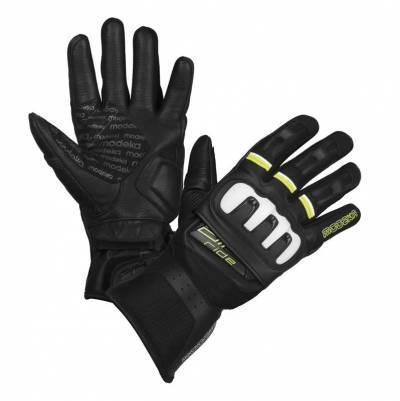 Modeka Handschuhe Air Ride, schwarz-weiß-fluogelb