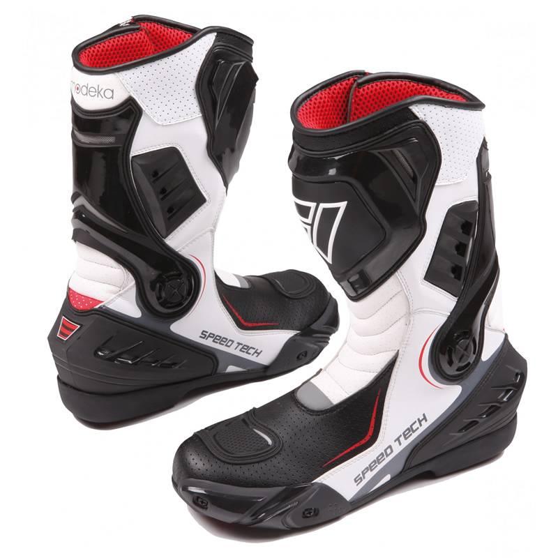 Modeka Stiefel Speed Tech, schwarz-Weiß