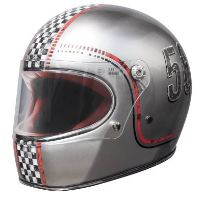 Premier Helm Trophy FL Silver Chrome, silber-rot-schwarz