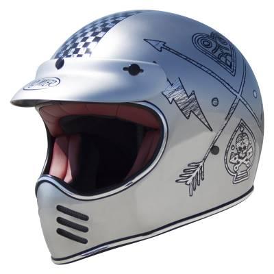 Premier Helm Trophy MX NX Chromed, silber-schwarz