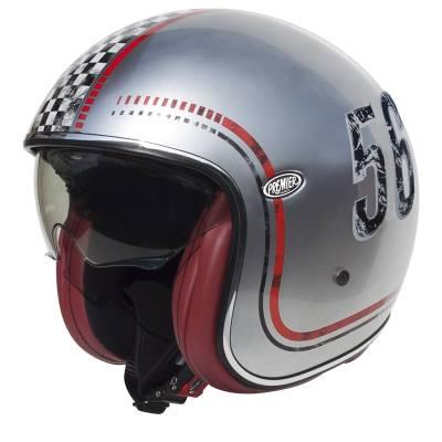 Premier Helm Vintage FL Silver Chrom, silber-rot-schwarz