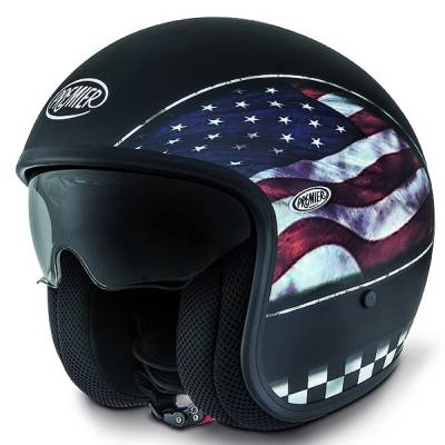 Premier Helm Vintage Flagge USA BM, schwarz-matt