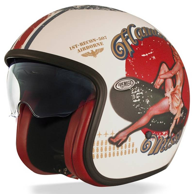 Premier Helm Vintage Pin Up 8BM, weiß-matt