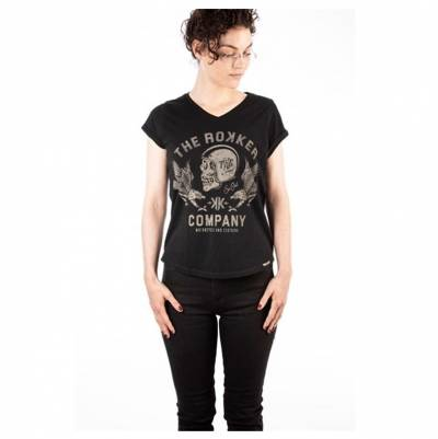 ROKKER Damen T-Shirt Eagle, schwarz