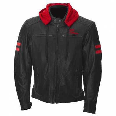 Rusty Stitches Jacke Jari Hooded, schwarz-rot