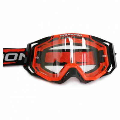 Scorpion Crossbrille Goggle E18, neon rot-schwarz