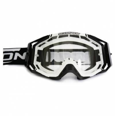 Scorpion Crossbrille Goggle E18, schwarz-weiß